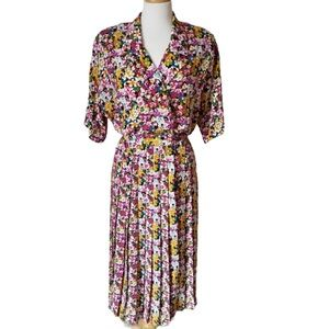 VTG 1980s- 1990s Ms Chaus floral midi shirt dress